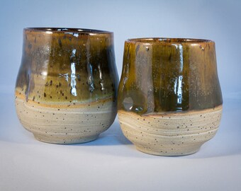 Handmade Pottery Dimpled Wine/Whisky Tumbler set