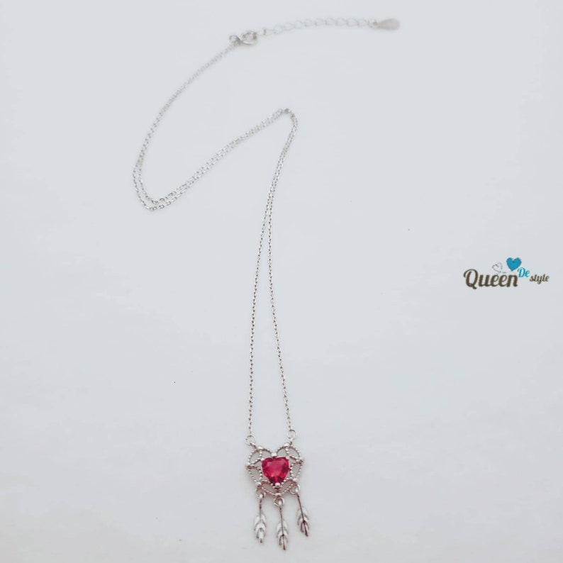 Silver Necklace Handmade Necklace 925 Sterling Dream Catcher Pink Synthetic Crystal Lovely Classic Cute Elegant Happiness Passion QUEENDE