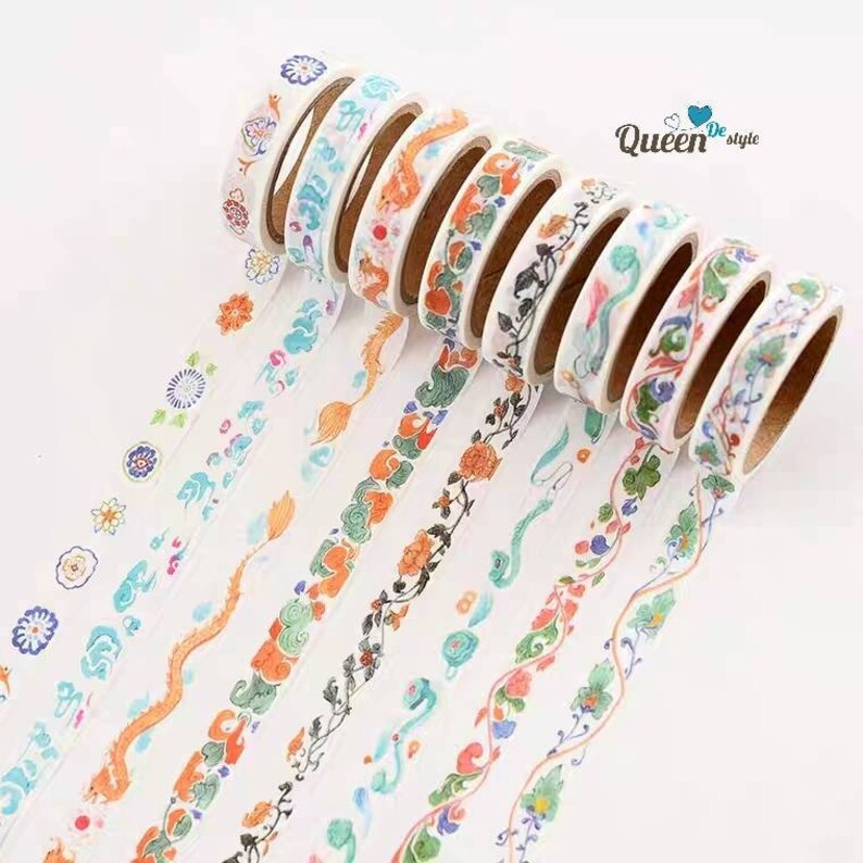 Washi tape Masking tape Japanese washi paper Trendy Stationary Teenager Favorite Watercolor Chinese Lucky patten Wonderful time QUEENDE