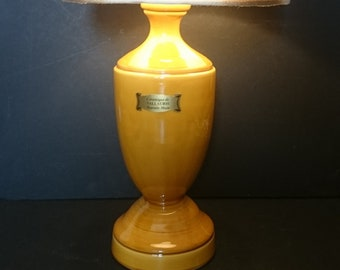 French vintage ceramics lamp stand Signed Vallauris Provence. Large Yellow baluster lamp mid 20th century.