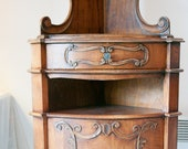 French provence Louis XV style Corner cabinet with shelves, early 20th century, for home phamacy, apothecaries, restaurant store display