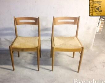 Ein Paar Vintage Stühle Signiert Dal Vera Italien Mitte 20. Jahrhundert  Moderne Ära 1960 Seil Sitz Charlotte Perriand Pierre Chapo Stil