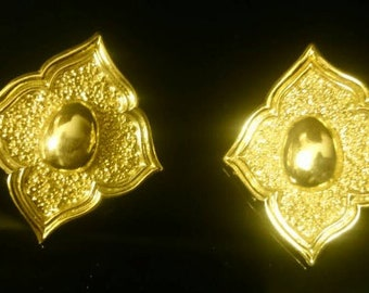 French vintage Paris Runway Fashion ear clips signed Jean Louis Sherrer Couture Luxury Statement earrings