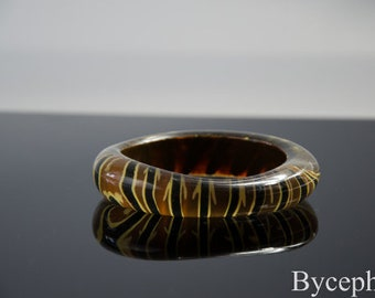 French Vintage Lucite Bracelet Paris Runway Fashion Mid 20th century Zebra