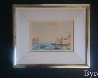 Joseph Galea Entrance of grand Harbour Malta original watercolor signed mid 20th century artist signed wall art