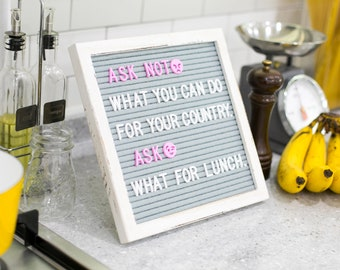 Rustic Vintage White Wood Frame Letter Board | Gray Felt Changeable Message 10x10 Inches with 680 Letters | Ideas Worth Sharing