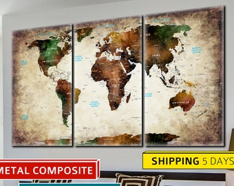 Wall World Map, Metal Art, Metal Print, Metal Map, World Map Metal, World Map, Office Decor, Travel Map, World Map, Abstract World Map