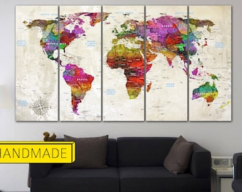 World map canvas etsy popular items for world map canvas gumiabroncs Choice Image