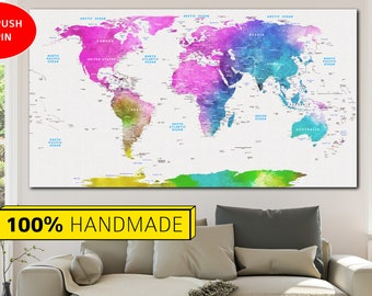 all colors world map colorful map push pin world map map of the world world map print push pin map world art canvas wall world map