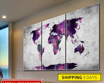 World Map, Abstract World Map, Wall World Map, Metal Art, Metal Print, Metal Map, World Map Metal, World Map, Office Decor, Travel Map