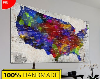 Colorful Map Of Usa.Colorful Usa Map Etsy