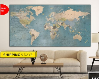 Blue Map, Map Canvas, Colorful World Map, World Map Print, Abstract, Wall World Map, Map of the World, Large World Map