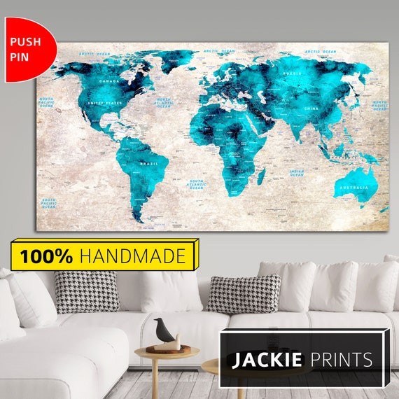 Wall World Map Large World Map Map of the World Colorful World Map World  Map Canvas Push Pin Canvas Map World Map Print Blue Map