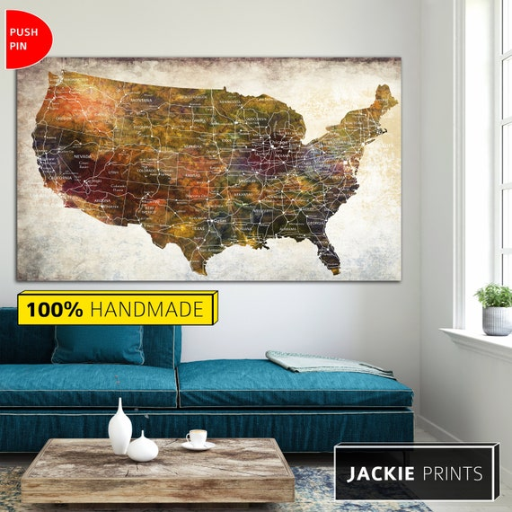 United States Map Canvas Wall Art.Home Wall Art Colorful Map Colorful Usa Map Map Canvas Wall Us Etsy