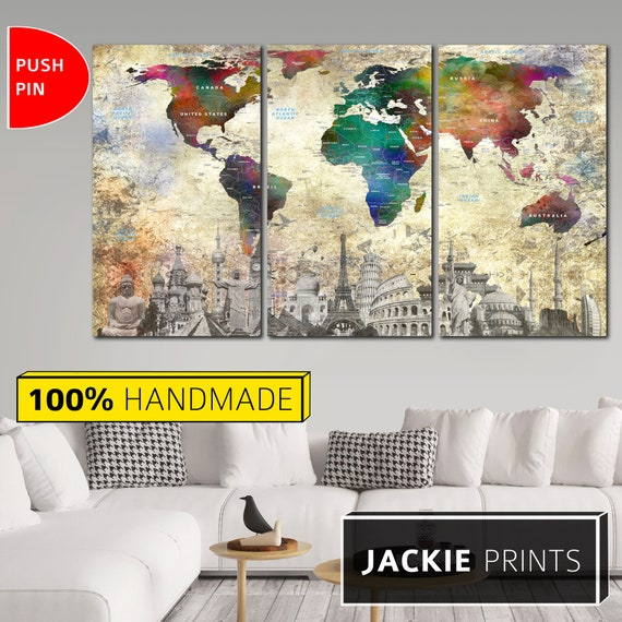 Canvas Map Push Pin Canvas Map Travel Map Wall World Map Canvas Map on earth map canvas, old world map canvas, map wall art, ikea world map canvas, united states map canvas,