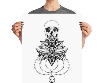 Skull on Mandala Poster
