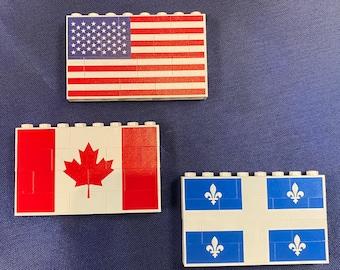Flags Printed on toy bricks