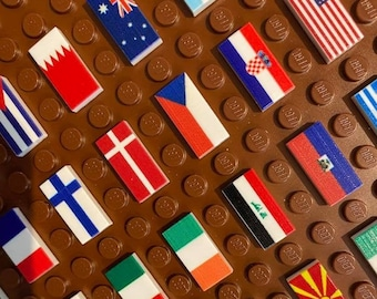WORLD FLAGS 1x2 Printed Tiles | Pin Your Location | Order Any Country | Vexillology | Add-On for World Map