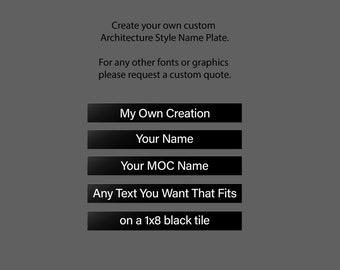 Custom Architecture Style Name Plates | 1x8 Black Tile | MOC name plates | AFOL | Personalization