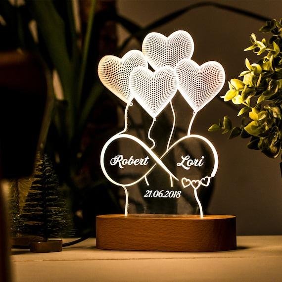 Regalo Personalizado De La Lámpara De Ilusión 3d Para Ella Etsy