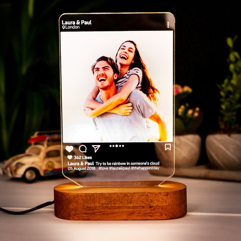 Instagram Style 3D Led Lamp Gift. Personalised Lamp Gift for image 0