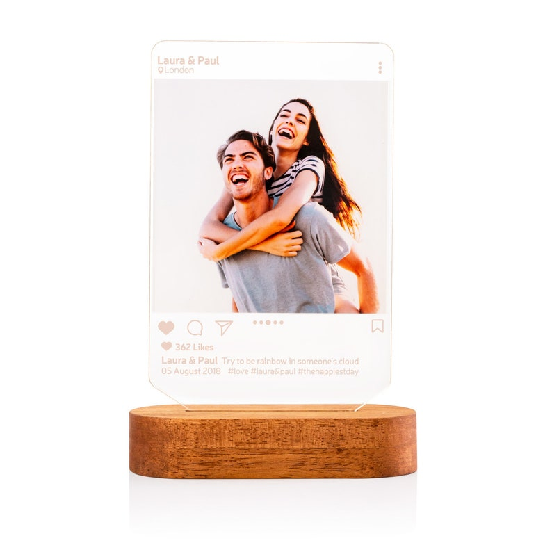 Instagram Style 3D Led Lamp Gift. Personalised Lamp Gift for image 1