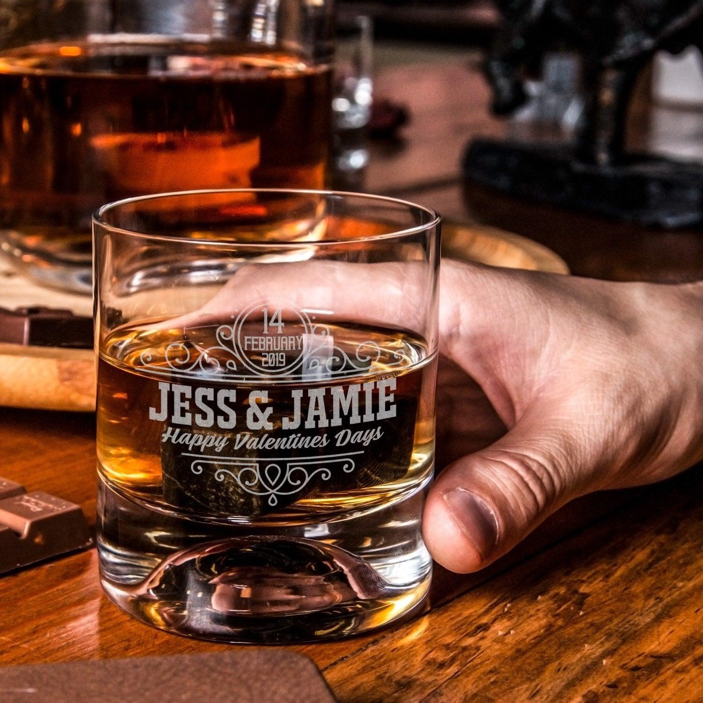 Monogram Lowball Glasses Personalized Rocks Glass Valentine/'s Mens Gift Gift for Men Whiskey Gift for Men Custom Whiskey Glasses