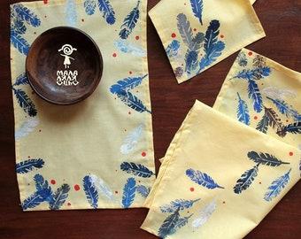 Block printed napkins - Cotton Cloth Napkins - Flour sack napkins - Eco Friendly Dinner Napkins -  Feather