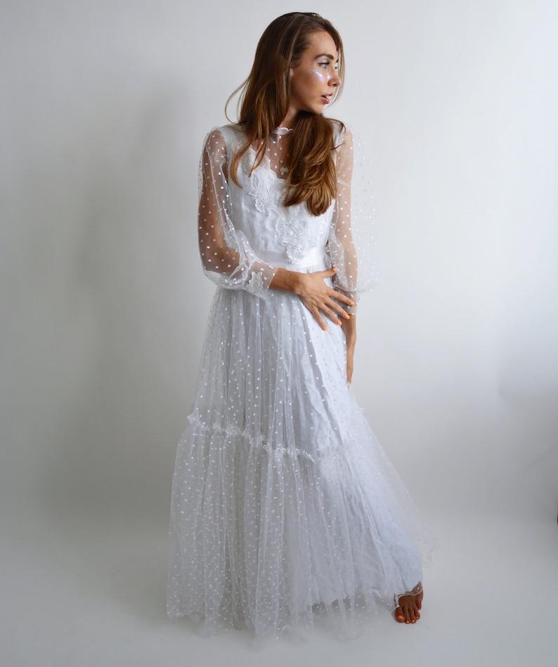 Lohrengel Designer Wedding Dress White Vintage Tulle Dress Polka Dot Retro Wedding Dress 80s Wedding Dress Unique 1990s Wedding Dress