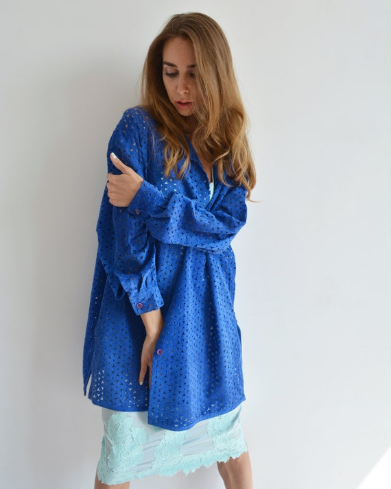 Vintage blue leather shirt, Perforated long shirt… - image 2