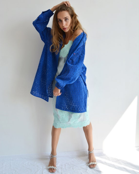 Vintage blue leather shirt, Perforated long shirt… - image 5