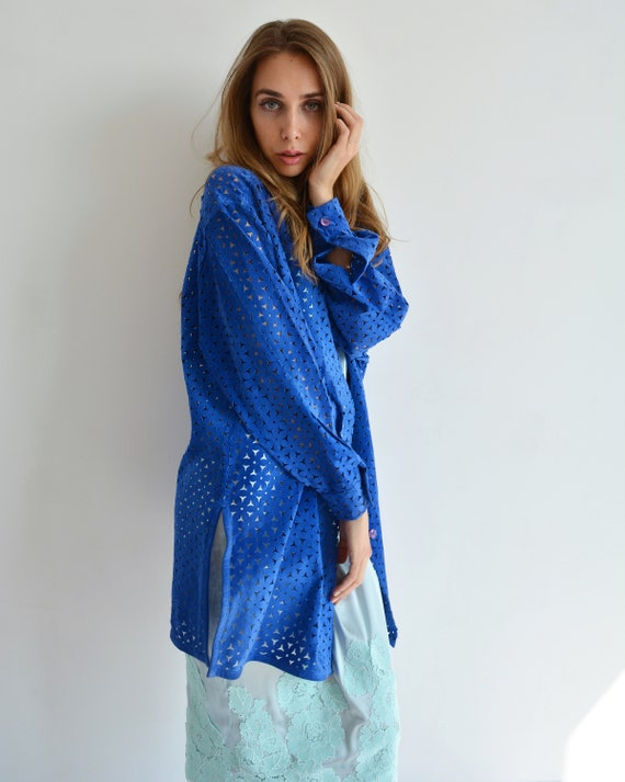 Vintage blue leather shirt, Perforated long shirt… - image 4