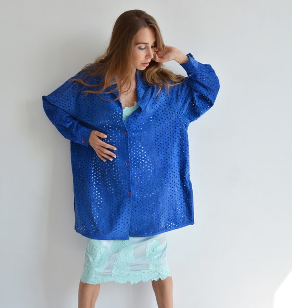 Vintage blue leather shirt, Perforated long shirt… - image 10