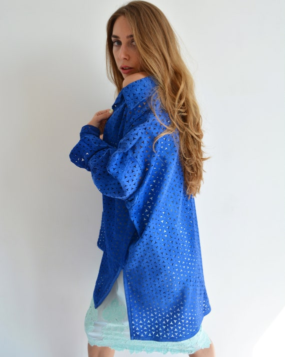 Vintage blue leather shirt, Perforated long shirt… - image 6