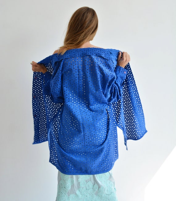 Vintage blue leather shirt, Perforated long shirt… - image 1