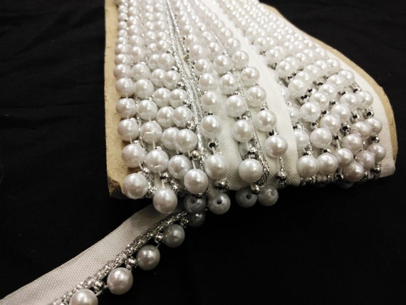 10 yard Indien blanc pompon/latken Beaded trim, perle de frange garniture garniture frange Garniture gitan boho, blanc nacre de perle perles garniture, de la garniture de mariage, b5f5a8