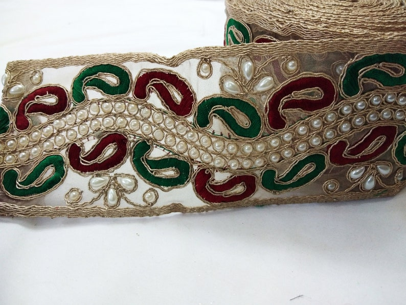 ATTRACTIVE INDIAN COPPER SEQUIN RIBBON LACE TRIM 10 cm WIDE SOLD by METRE