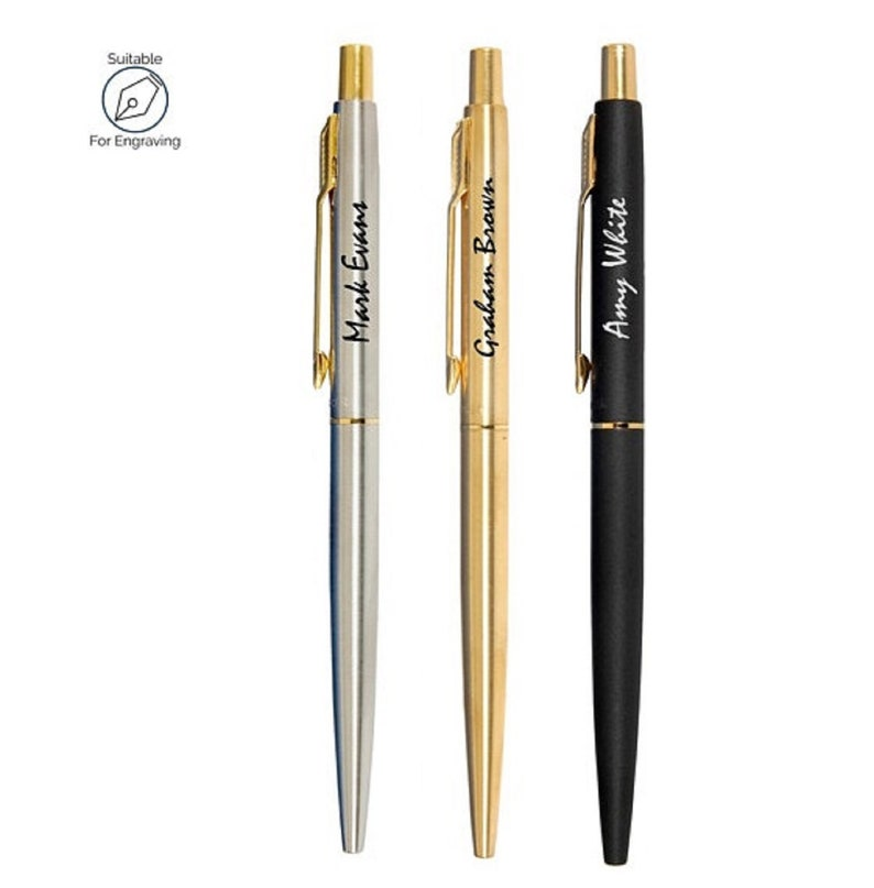 PERSONALISED ENGRAVED PARKER CLASSIC STAINLESS STEEL SILVER BALL POINT PEN GIFT