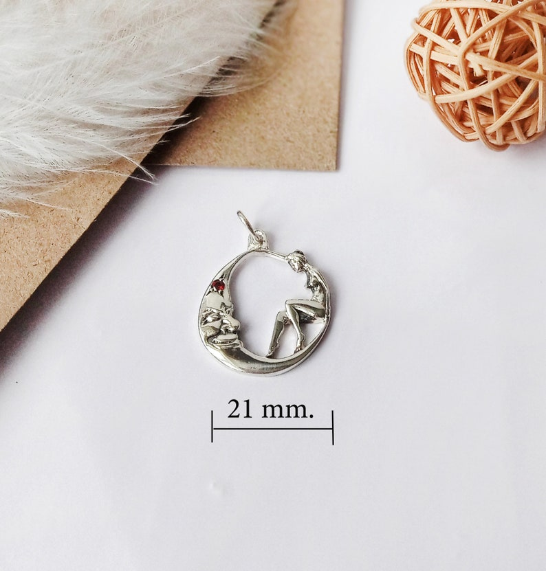 925 sterling silver gift for your beloved girl and moon moon pendant Silver pendant fancy moon Silver pendant  moon and  girl.