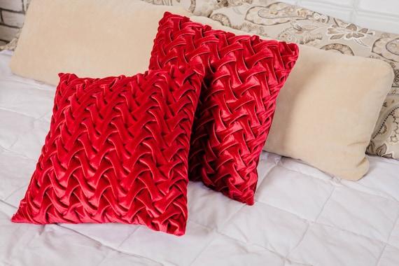 Dark Red Throw Pillows.Dark Red Throw Pillow Covers Velvet Burgundy Pillows Maroon Velvet Cushion Boho Pillow