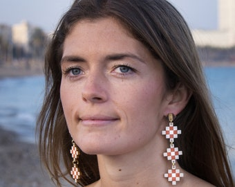 Beautiful large earrings original design from Barcelona, Queen Elionor III