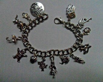 Handmade Alice in Wonderland Bracelet with 14 Charms Lobster Clasp Silver
