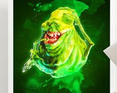 Ghostbusters Slimer Art Poster Print - Wall Art - Size A4