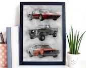 80s TV Cars Art Poster Print Portrait - Magnum Fall Guy Dukes Of Hazard Wall Art