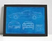 Knight Rider Blueprint KITT Trans Am 80s TV Cars Art Poster Print