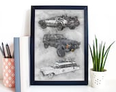 80s Movie Cars Art Poster Print Portrait - Back To The Future, The Goonies, Ghostbusters