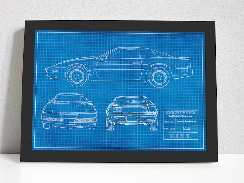 Knight Rider Blueprint KITT Trans Am 80s TV Cars Art Poster image 1