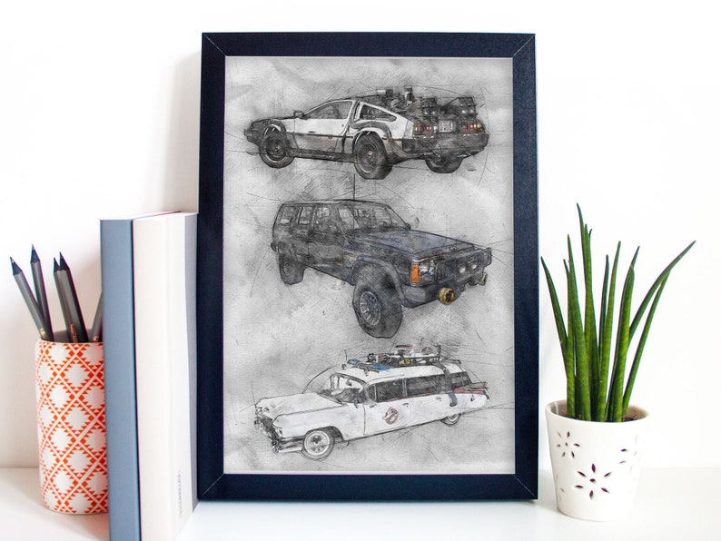 80s Movie Cars Art Poster Print Portrait  Back To The Future image 0