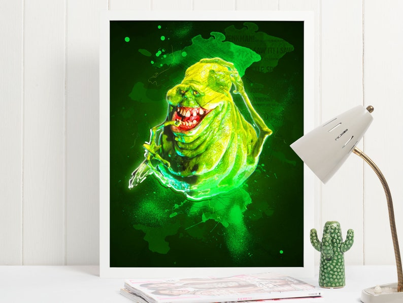 Ghostbusters Slimer Art Poster Print  Wall Art  Size A4 image 0