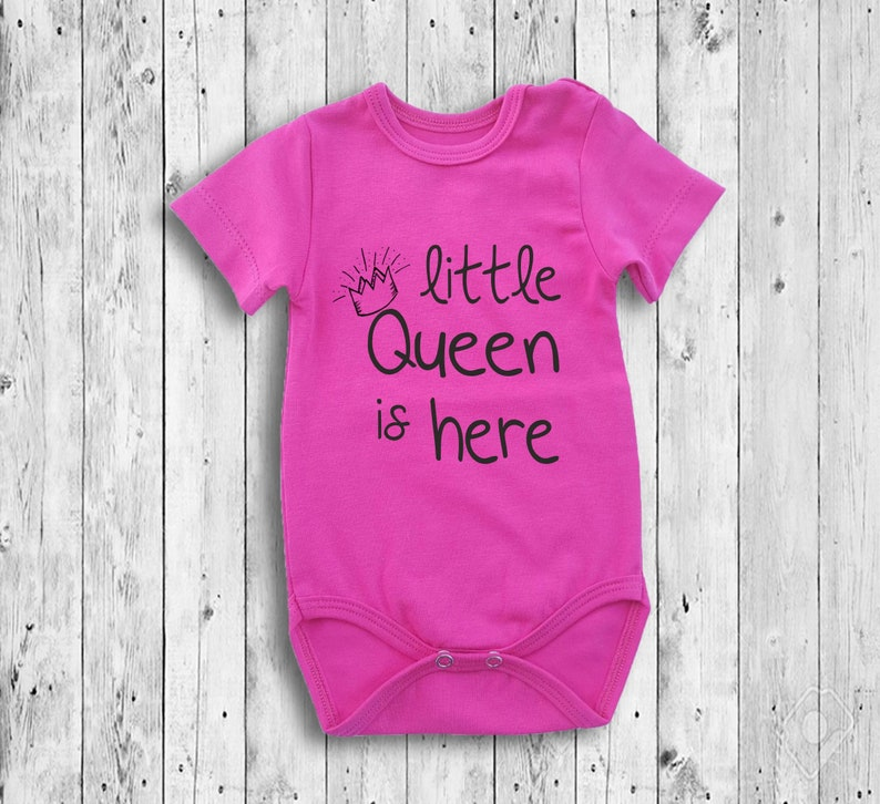 b274eedfe New Great Baby Girl Pink Short Sleeve Bodysuit Queen Letters | Etsy
